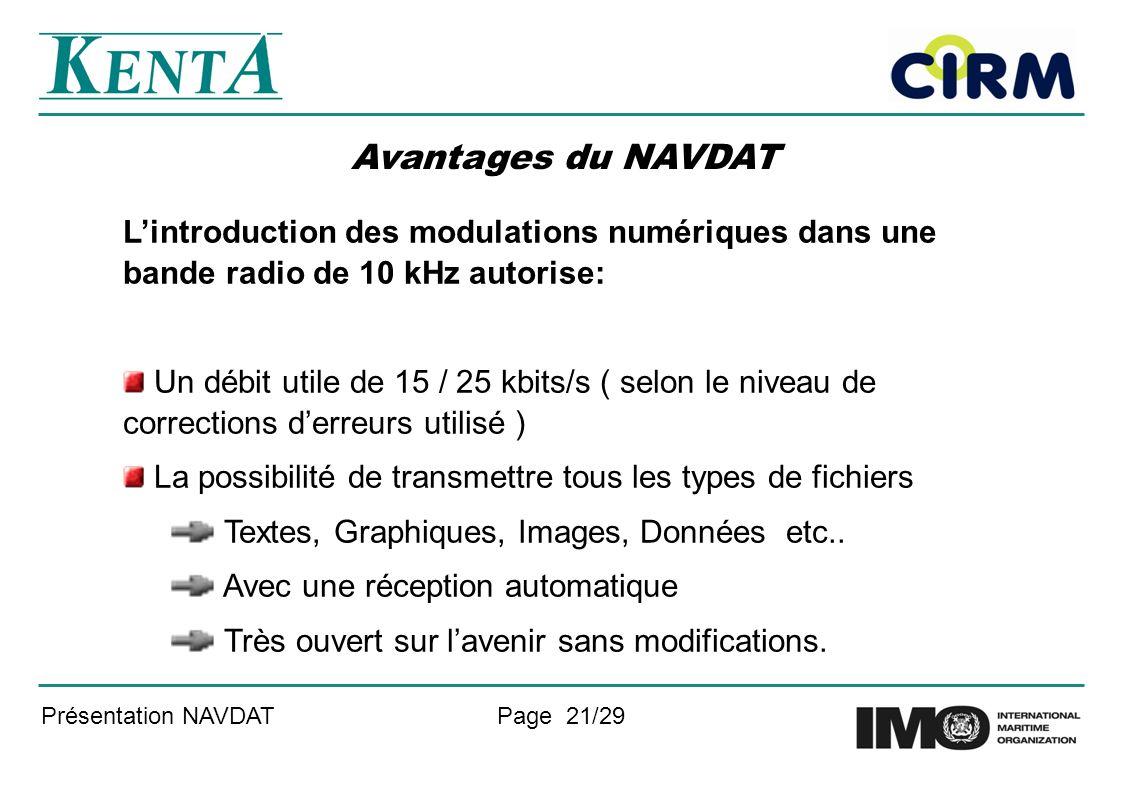 Avantages du NAVDAT L'introduction des modulations numériques dans une bande radio de 10 kHz autorise: