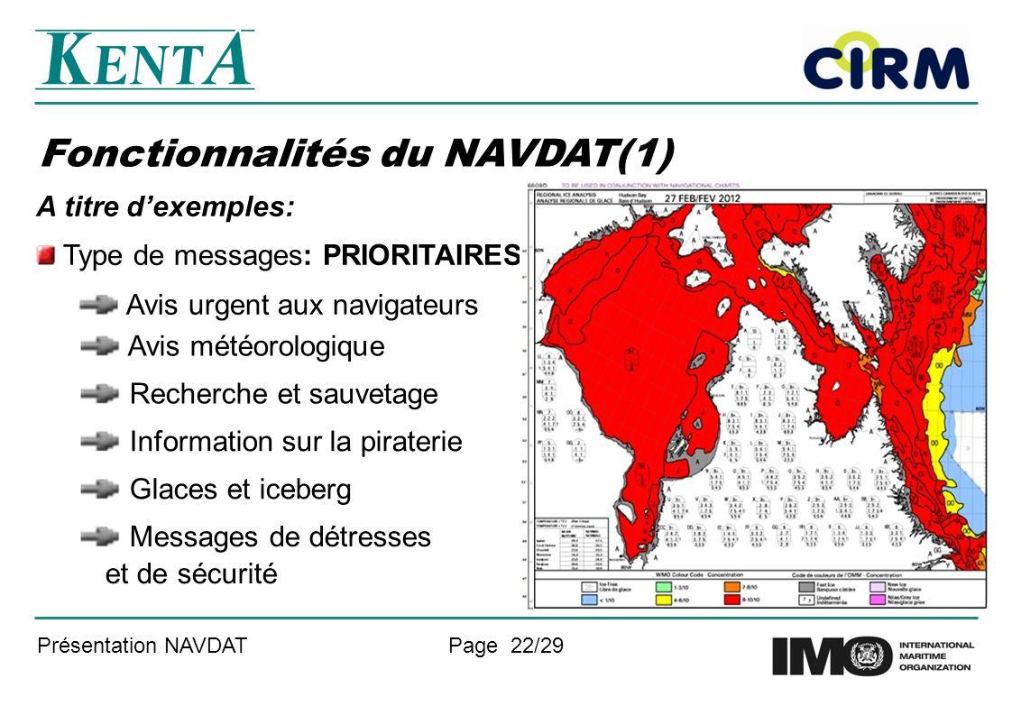 Fonctionnalités du NAVDAT(1)