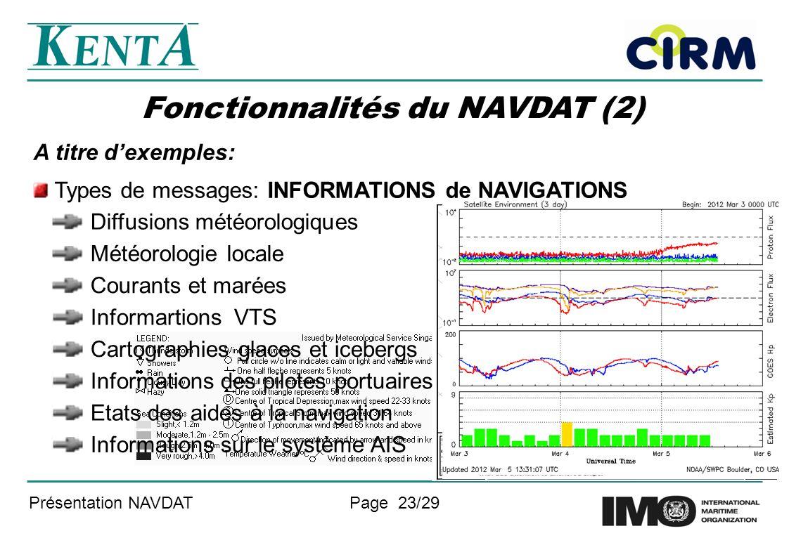 Fonctionnalités du NAVDAT (2)