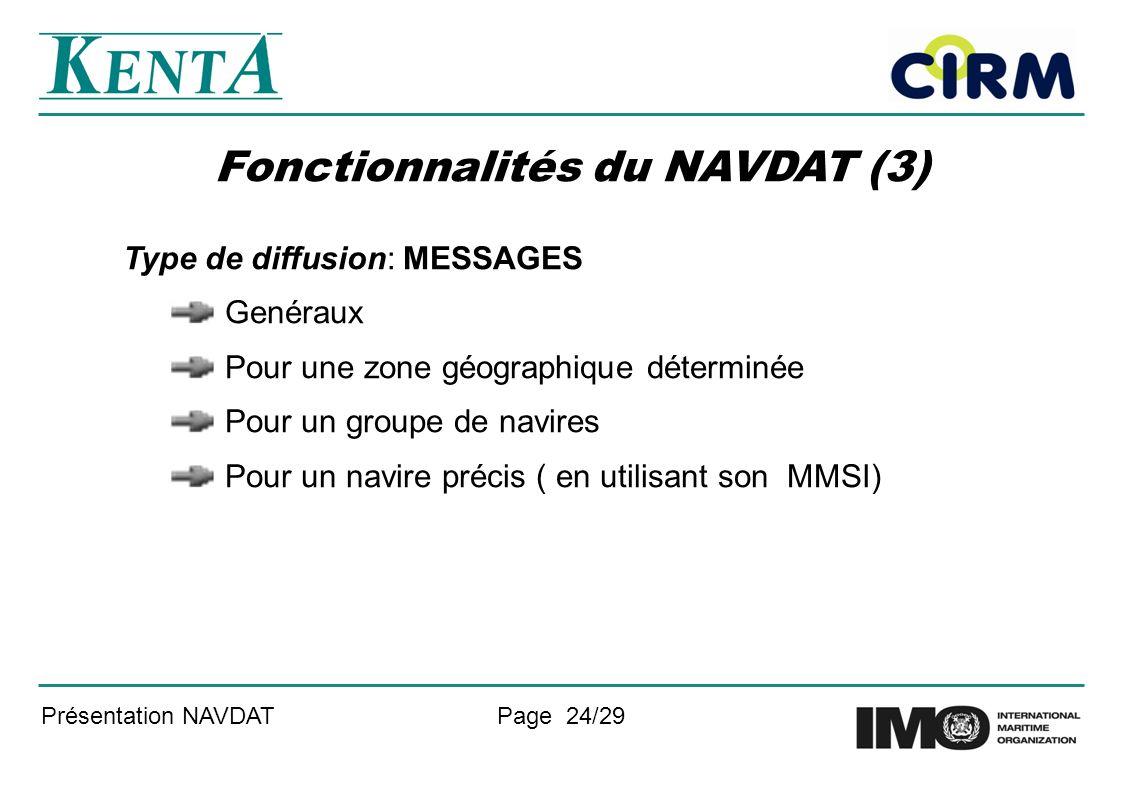 Fonctionnalités du NAVDAT (3)