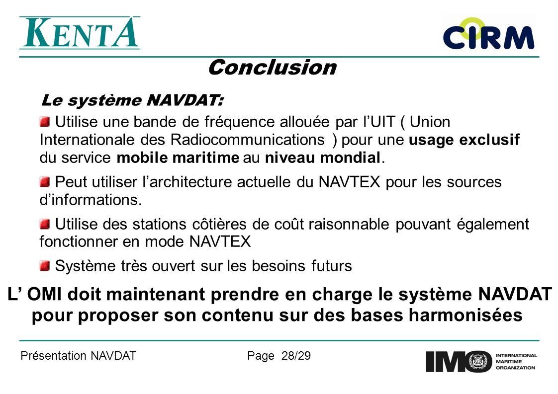 Le système NAVDAT: Conclusion.