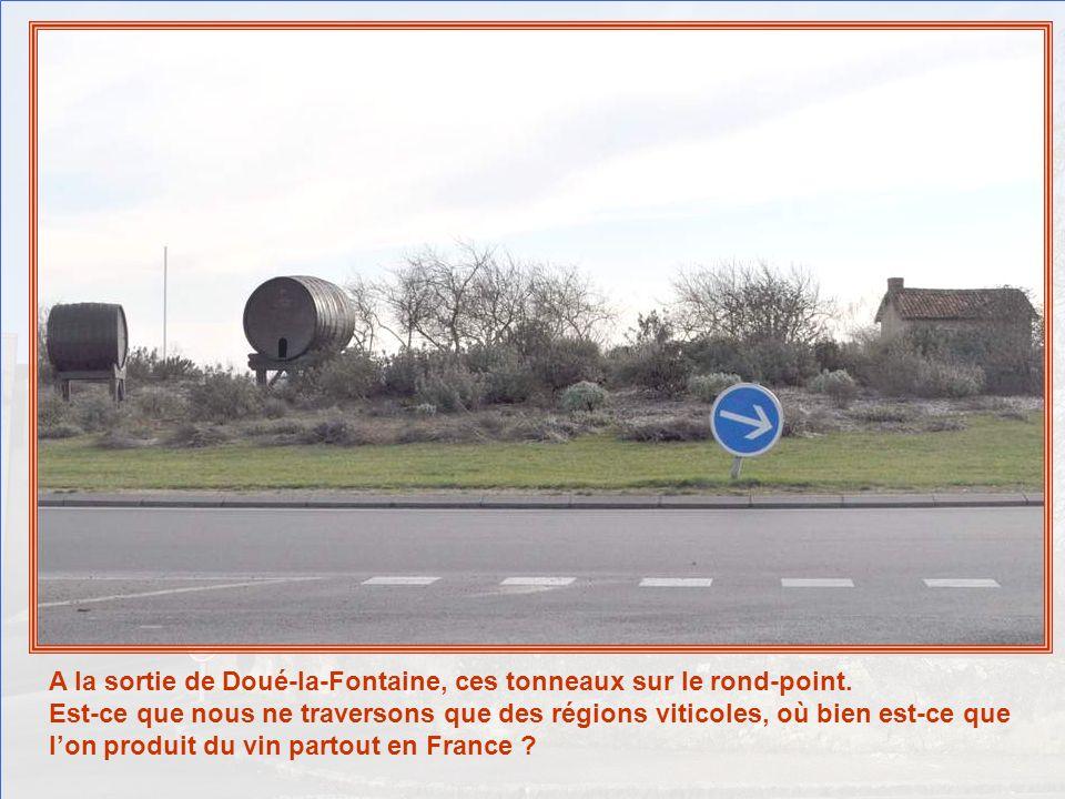 A la sortie de Doué-la-Fontaine, ces tonneaux sur le rond-point