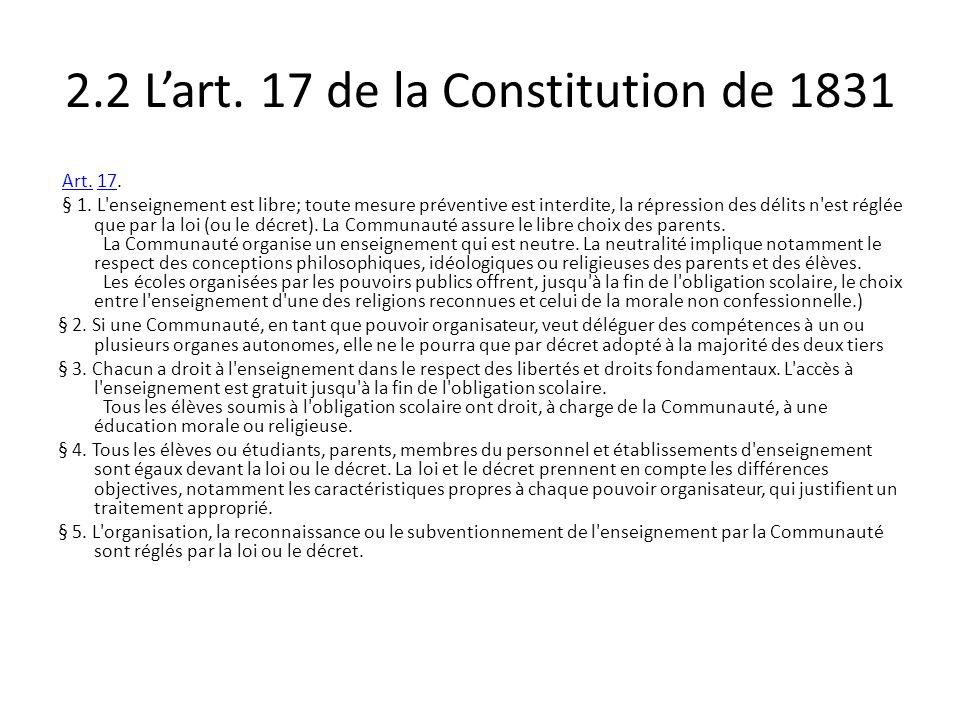 2.2 L'art. 17 de la Constitution de 1831
