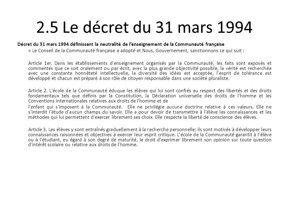 2.5 Le décret du 31 mars 1994