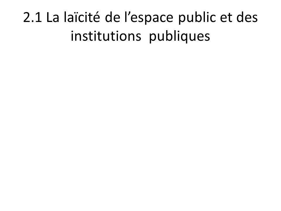 2.1 La laïcité de l'espace public et des institutions publiques