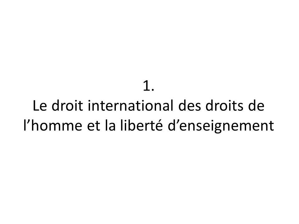 1. Le droit international des droits de l'homme et la liberté d'enseignement