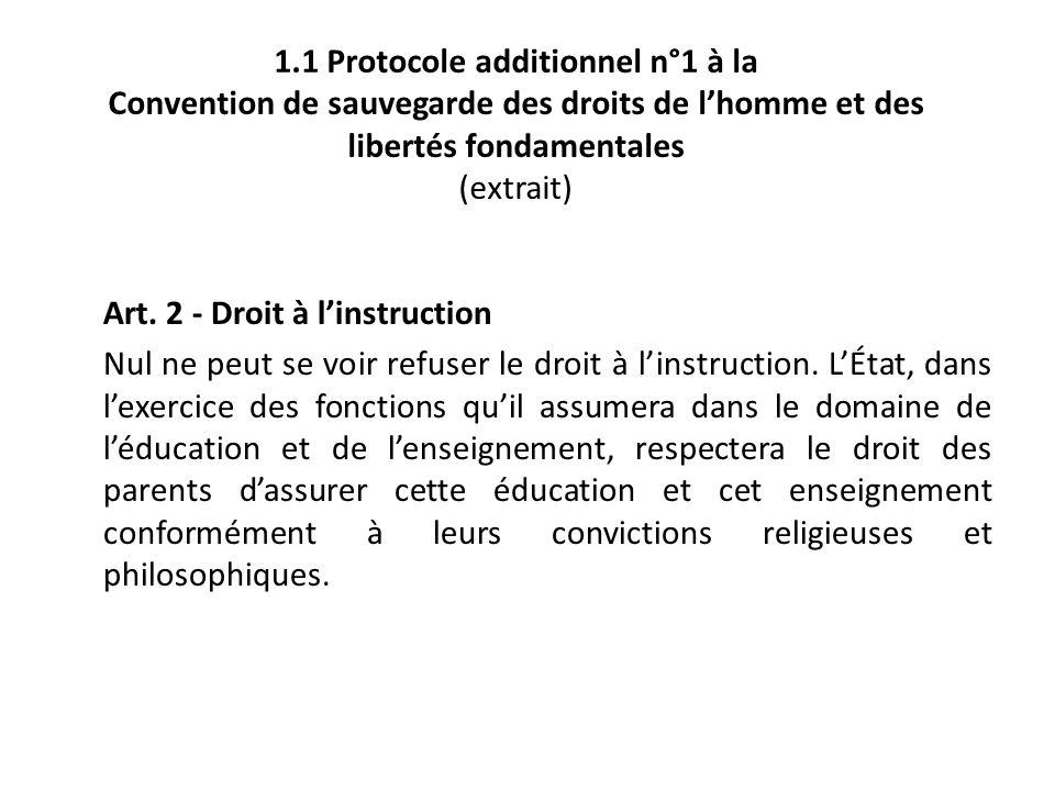 1.1 Protocole additionnel n°1 à la Convention de sauvegarde des droits de l'homme et des libertés fondamentales (extrait)