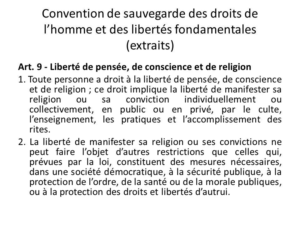 Convention de sauvegarde des droits de l'homme et des libertés fondamentales (extraits)