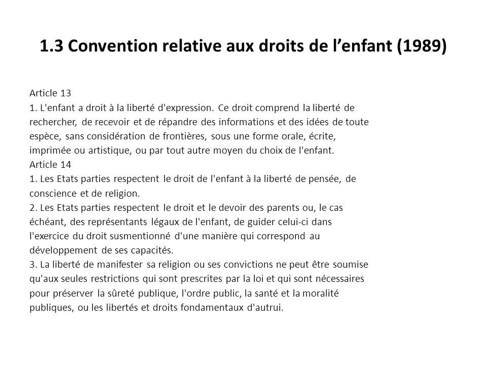 1.3 Convention relative aux droits de l'enfant (1989)