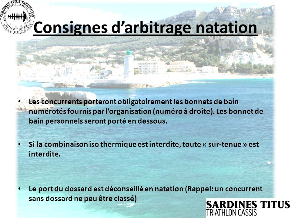 Consignes d'arbitrage natation