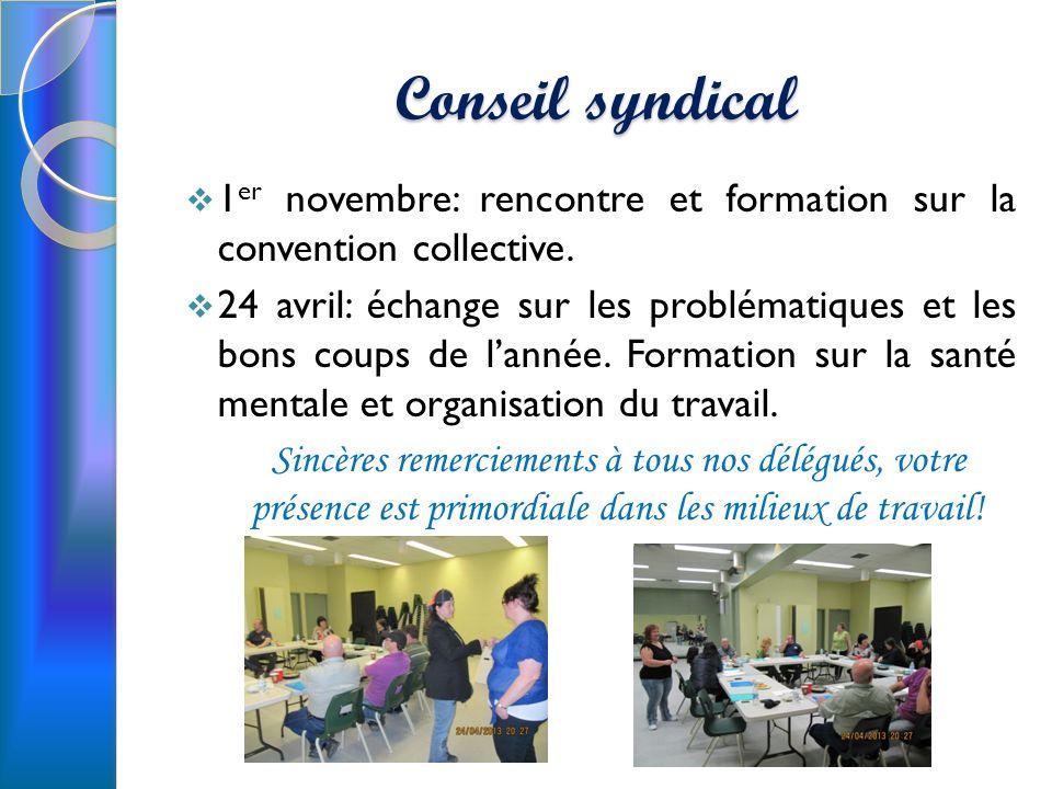 Conseil syndical 1er novembre: rencontre et formation sur la convention collective.