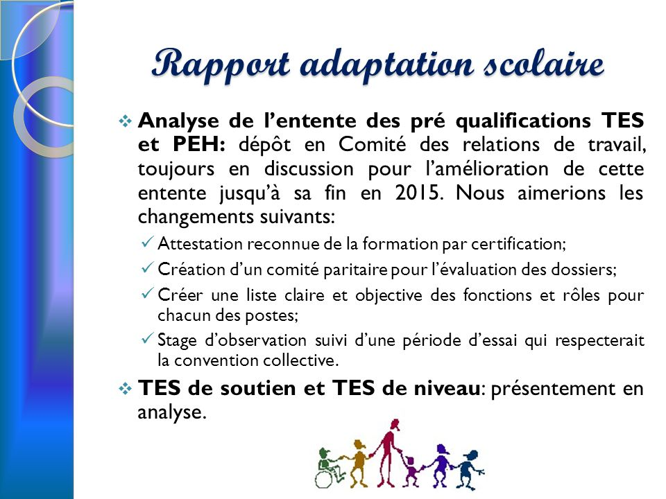 Rapport adaptation scolaire