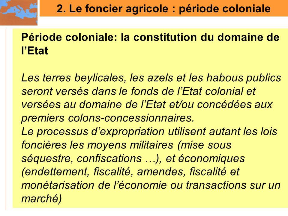 2. Le foncier agricole : période coloniale