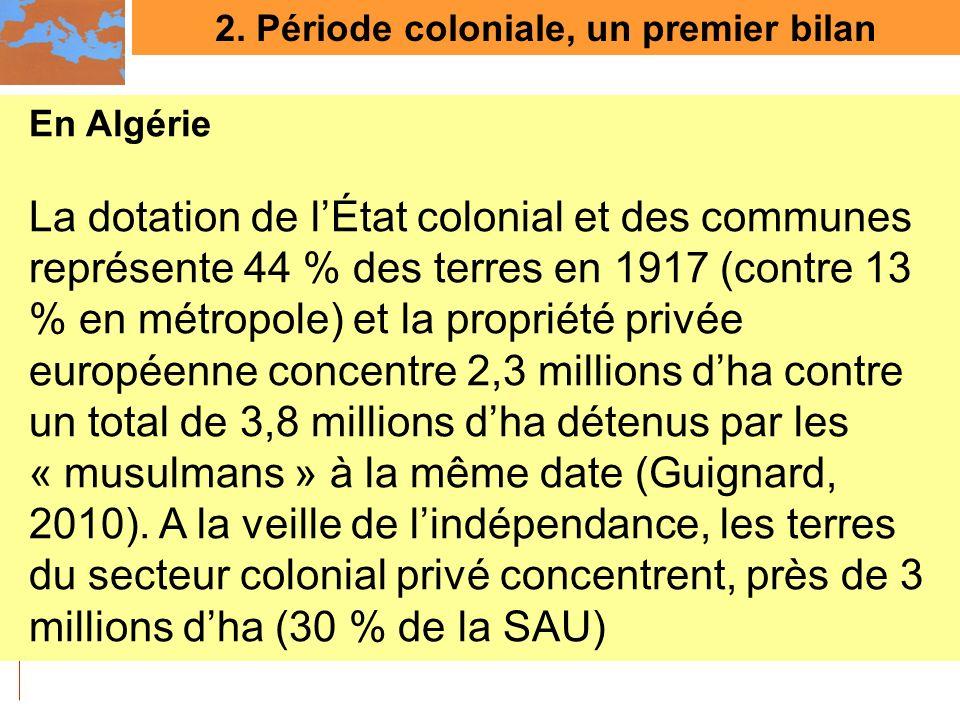 2. Période coloniale, un premier bilan