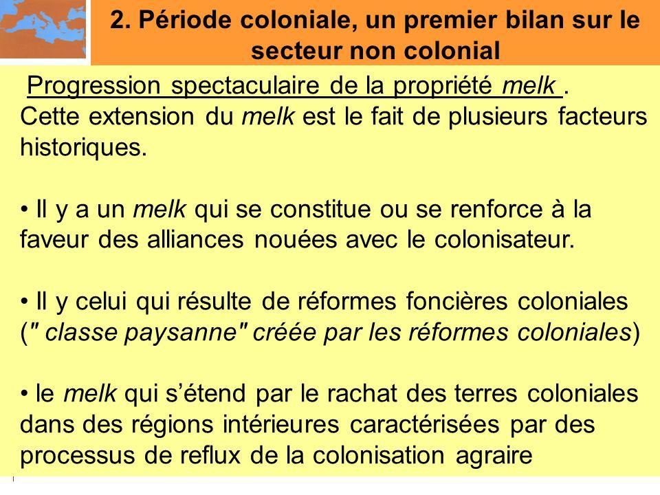 2. Période coloniale, un premier bilan sur le secteur non colonial