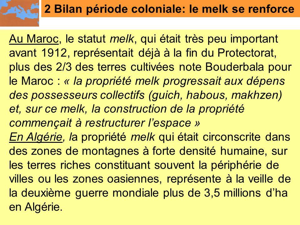 2 Bilan période coloniale: le melk se renforce