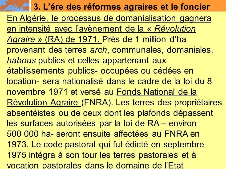 3. L'ére des réformes agraires et le foncier
