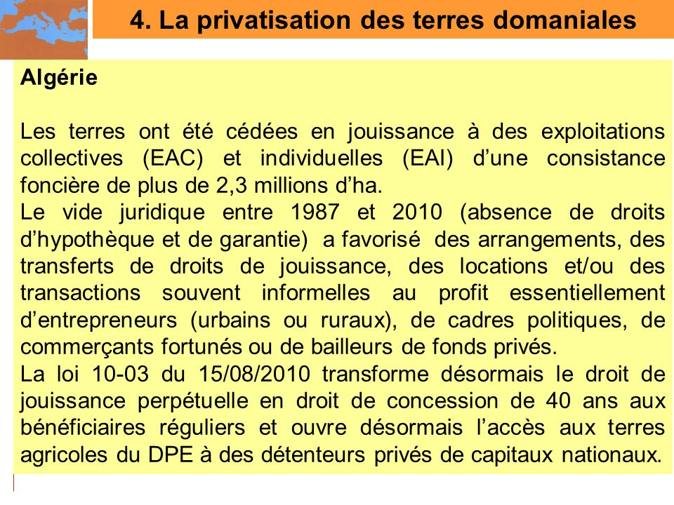 4. La privatisation des terres domaniales