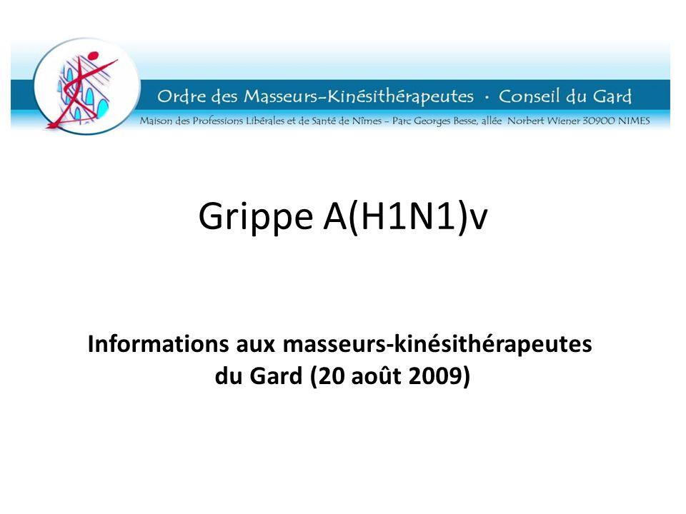 Informations aux masseurs-kinésithérapeutes du Gard (20 août 2009)