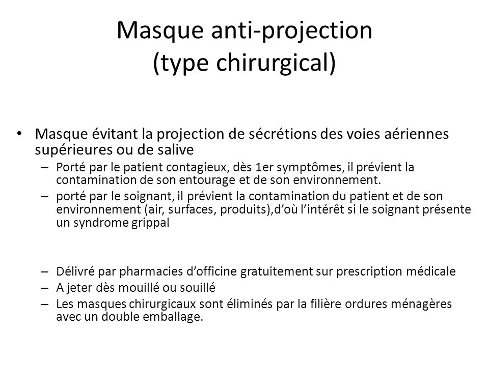 Masque anti-projection (type chirurgical)