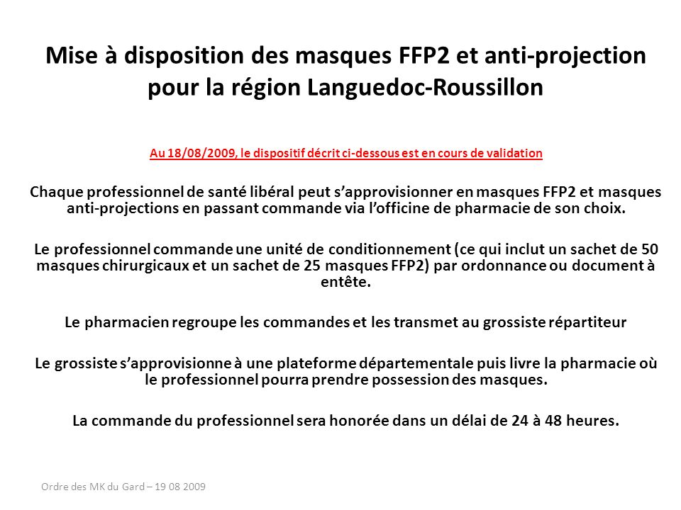 Mise à disposition des masques FFP2 et anti-projection
