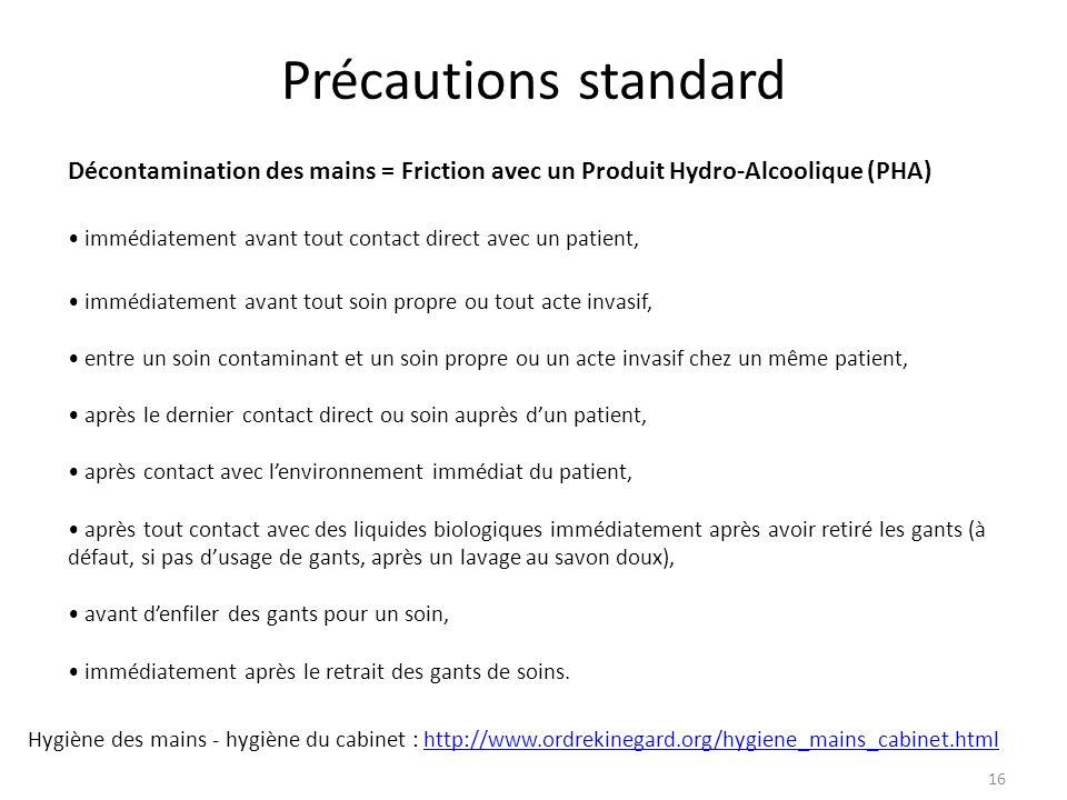 Précautions standard Décontamination des mains = Friction avec un Produit Hydro-Alcoolique (PHA)