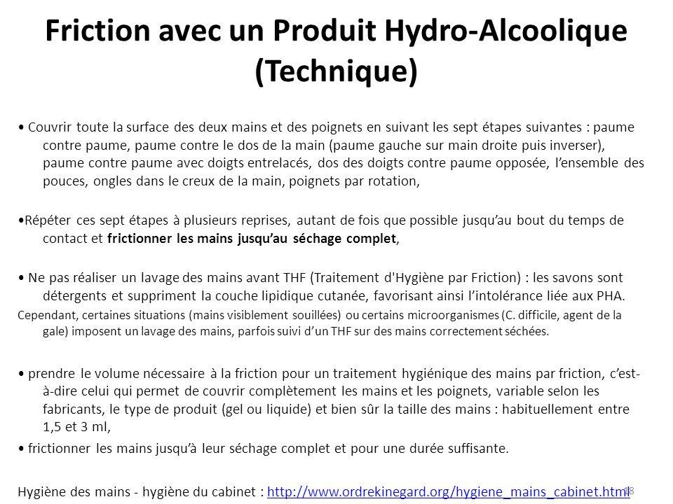 Friction avec un Produit Hydro-Alcoolique (Technique)