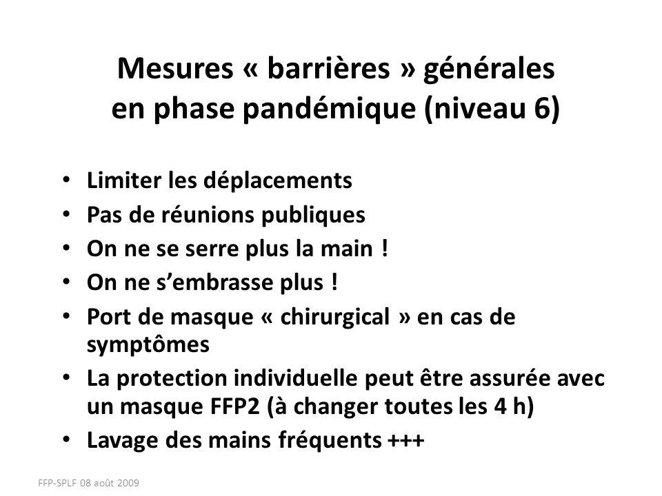 Mesures « barrières » générales en phase pandémique (niveau 6)