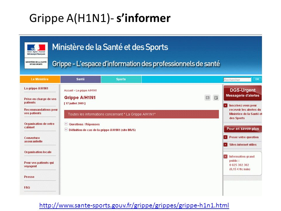 Grippe A(H1N1)- s'informer
