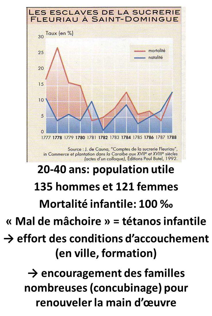 20-40 ans: population utile 135 hommes et 121 femmes