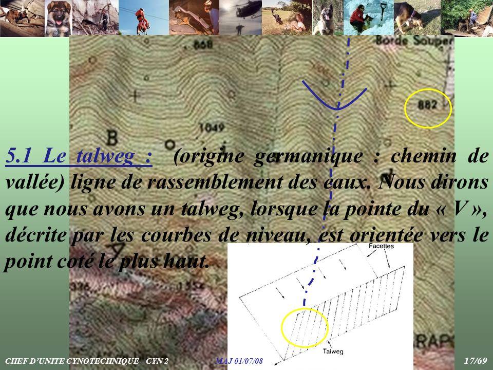 5.1 Le talweg : (origine germanique : chemin de vallée) ligne de rassemblement des eaux. Nous dirons que nous avons un talweg, lorsque la pointe du « V », décrite par les courbes de niveau, est orientée vers le point coté le plus haut.