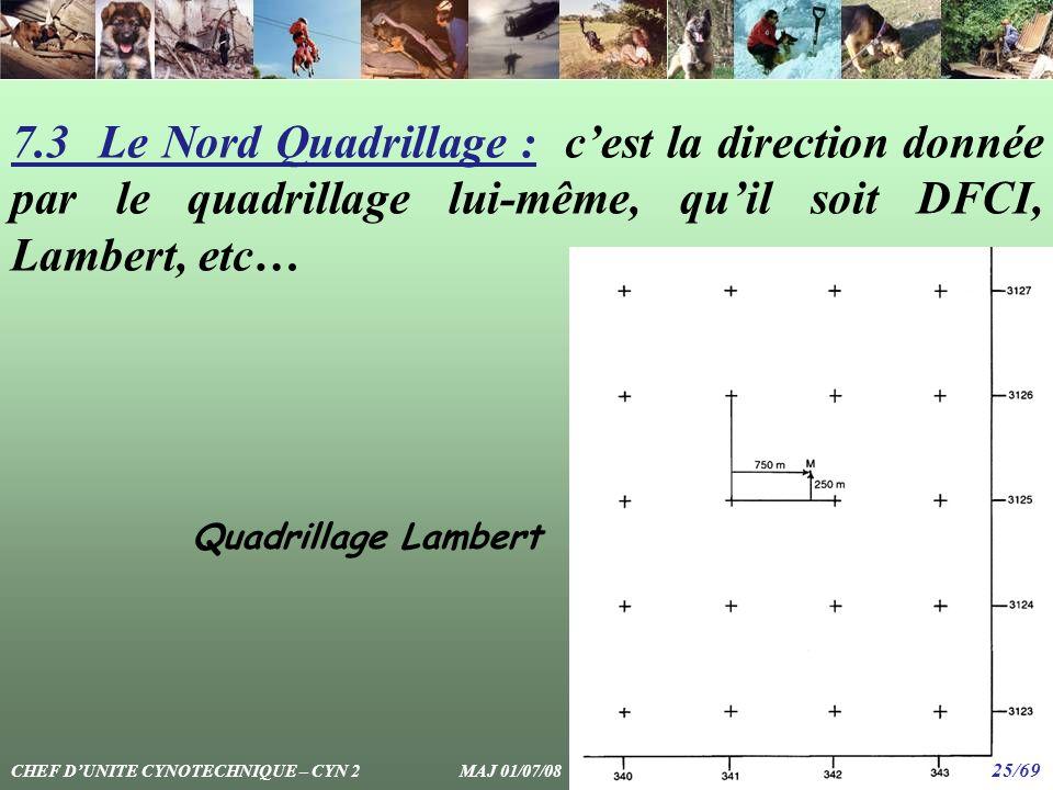 7.3 Le Nord Quadrillage : c'est la direction donnée par le quadrillage lui-même, qu'il soit DFCI, Lambert, etc…