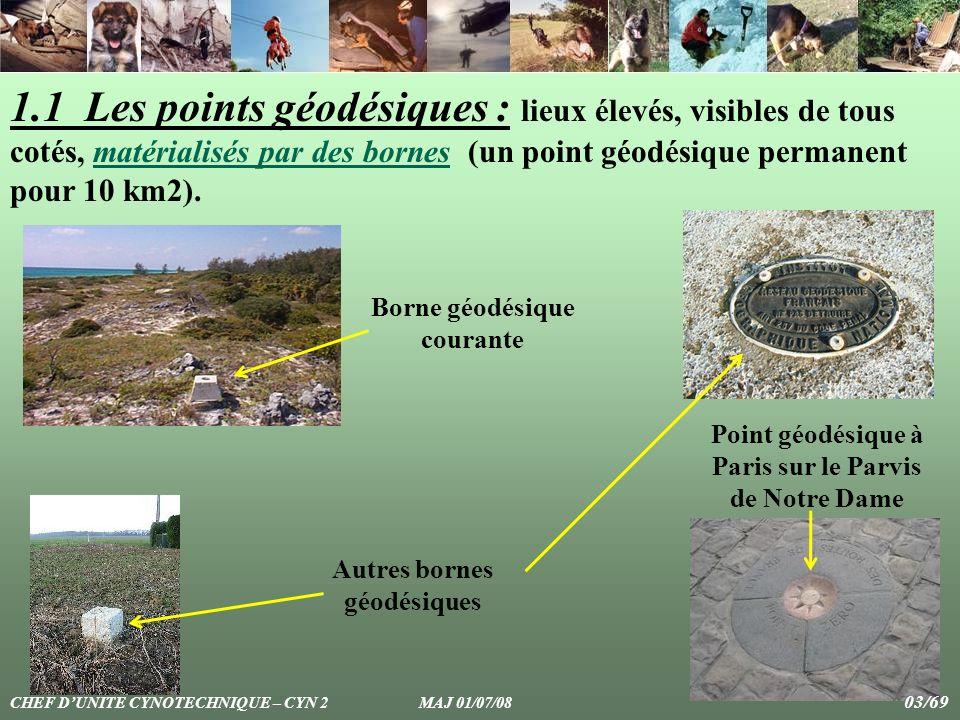 1.1 Les points géodésiques : lieux élevés, visibles de tous cotés, matérialisés par des bornes (un point géodésique permanent pour 10 km2).