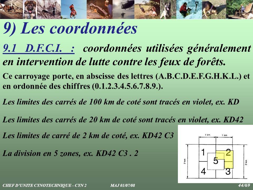 9) Les coordonnées 9.1 D.F.C.I. : coordonnées utilisées généralement en intervention de lutte contre les feux de forêts.