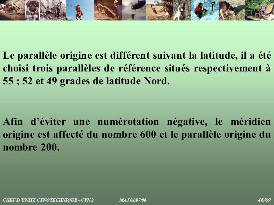 Le parallèle origine est différent suivant la latitude, il a été choisi trois parallèles de référence situés respectivement à 55 ; 52 et 49 grades de latitude Nord.