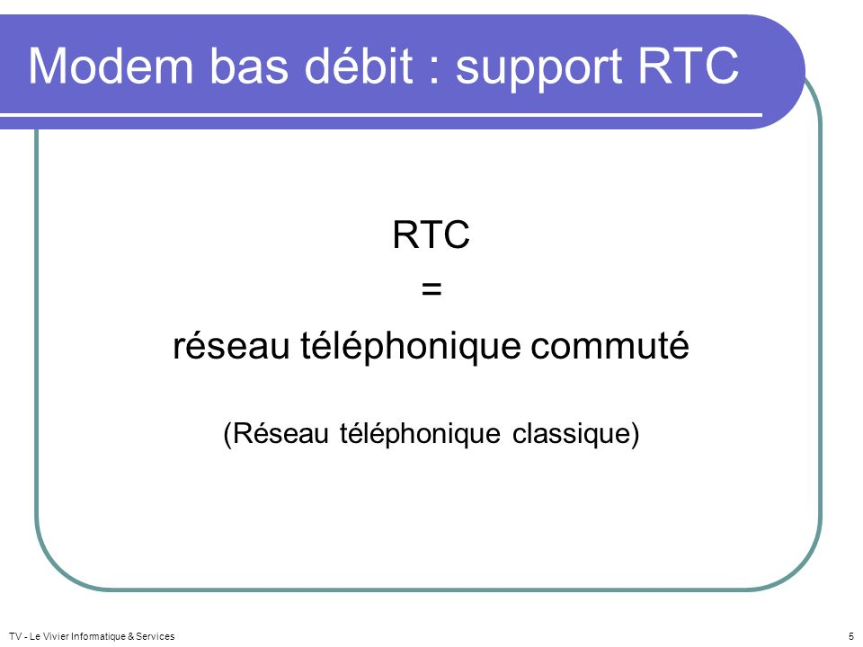 Modem bas débit : support RTC