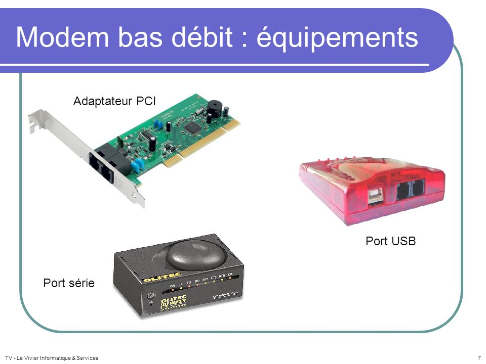 Modem bas débit : équipements