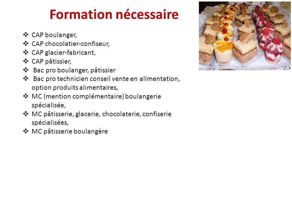 Formation nécessaire CAP boulanger, CAP chocolatier-confiseur,