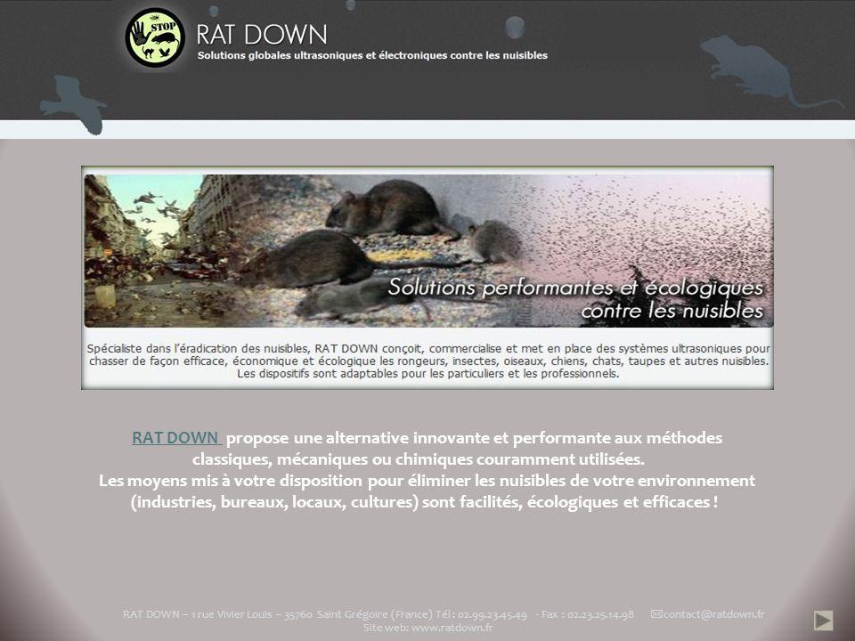 RAT DOWN propose une alternative innovante et performante aux méthodes classiques, mécaniques ou chimiques couramment utilisées.