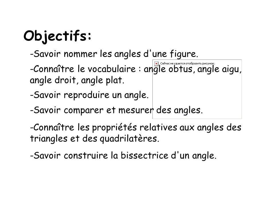 Objectifs: -Savoir nommer les angles d une figure.