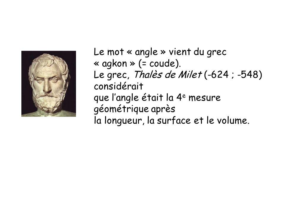Le mot « angle » vient du grec « agkon » (= coude).