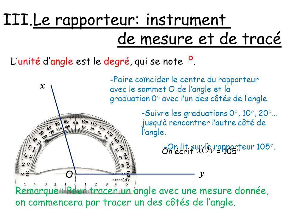 Le rapporteur: instrument de mesure et de tracé