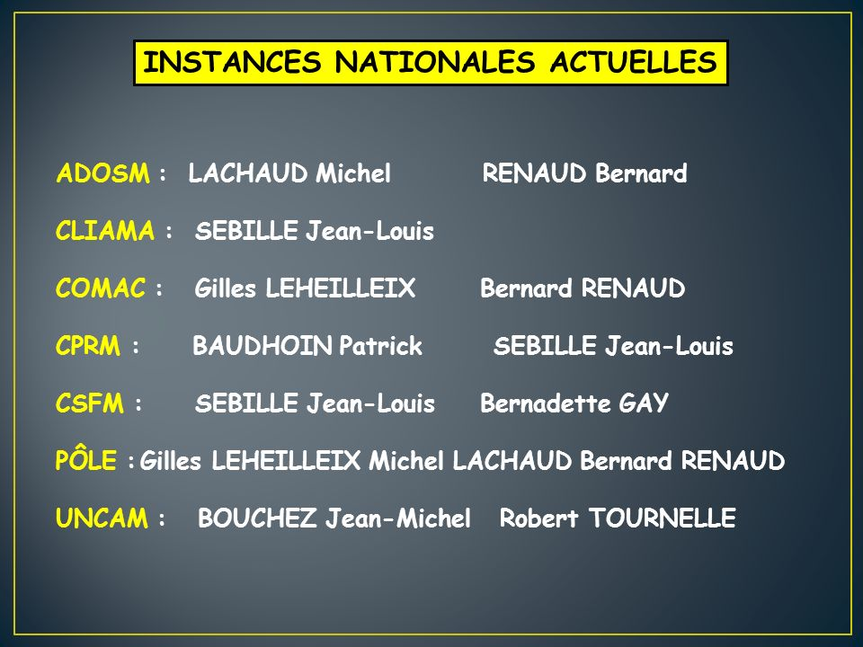 INSTANCES NATIONALES ACTUELLES