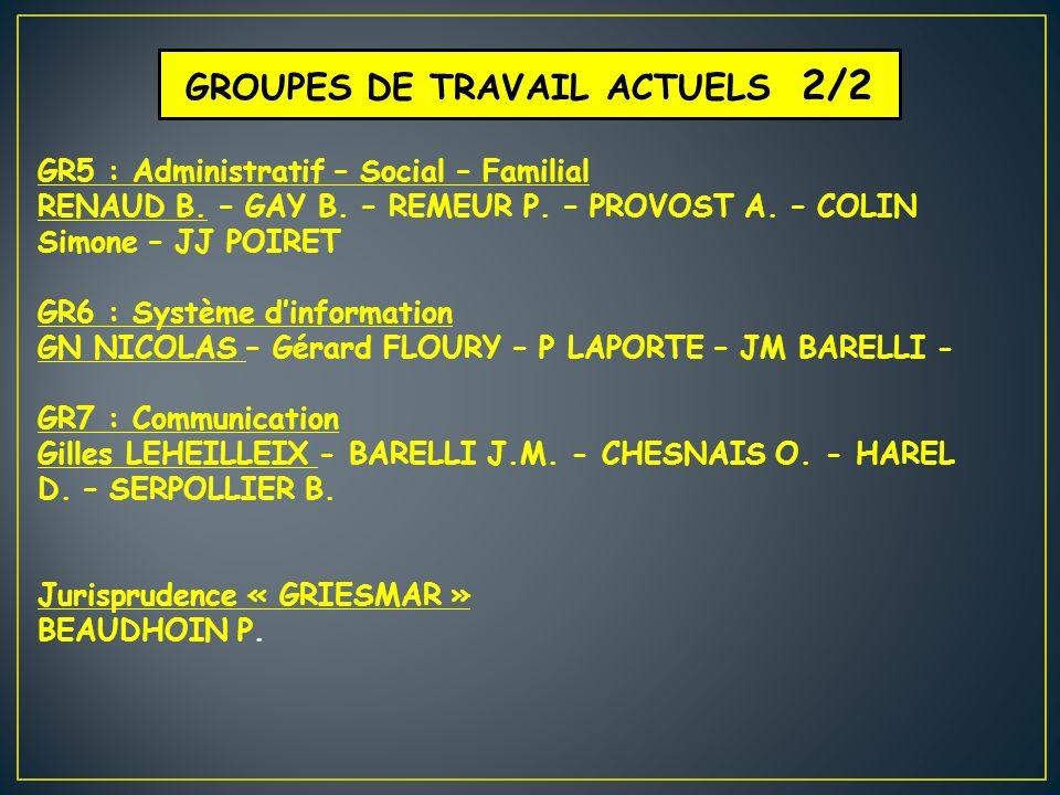 GROUPES DE TRAVAIL ACTUELS 2/2