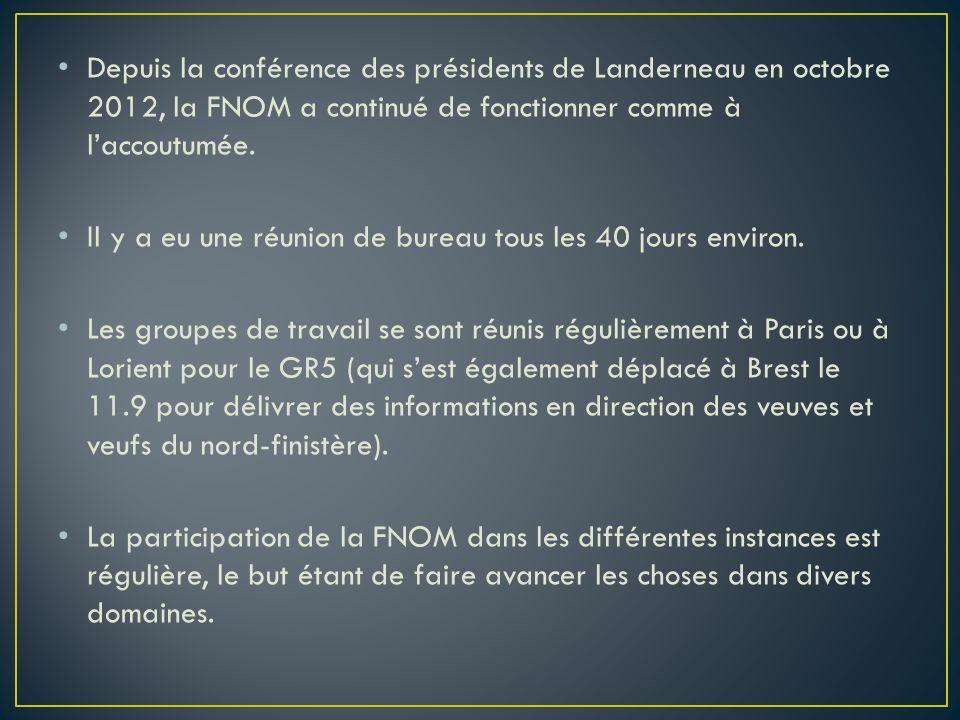 Depuis la conférence des présidents de Landerneau en octobre 2012, la FNOM a continué de fonctionner comme à l'accoutumée.