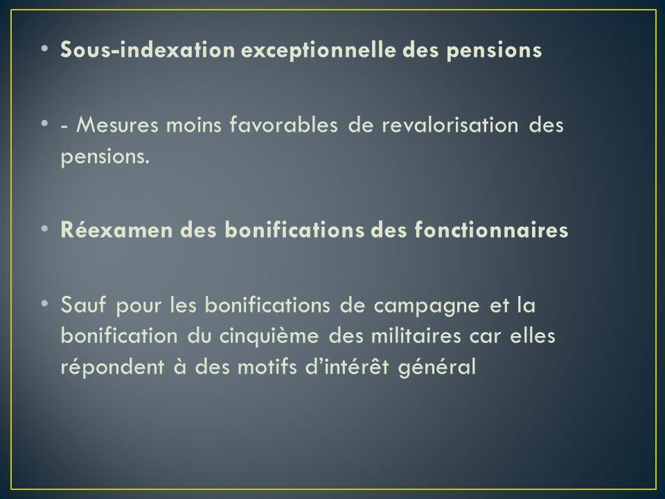Sous-indexation exceptionnelle des pensions