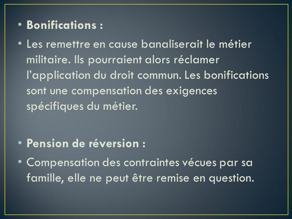 Bonifications :