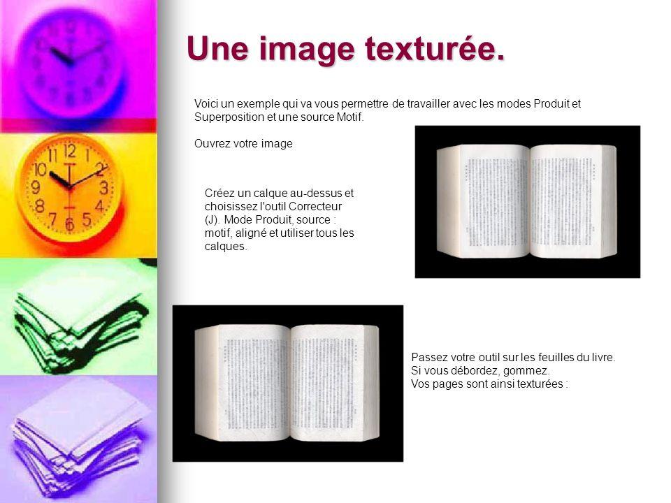 Une image texturée. Voici un exemple qui va vous permettre de travailler avec les modes Produit et Superposition et une source Motif.