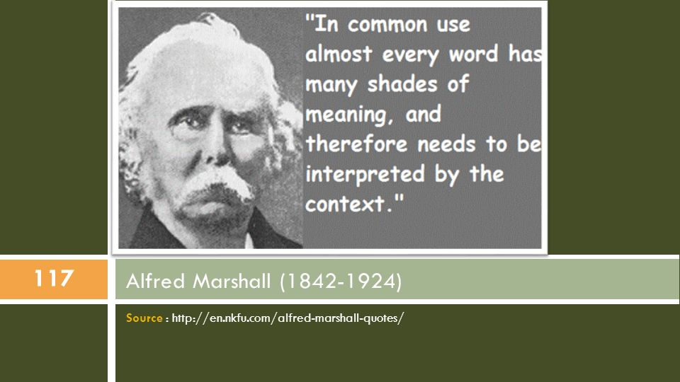 Alfred Marshall (1842-1924) Source : http://en.nkfu.com/alfred-marshall-quotes/
