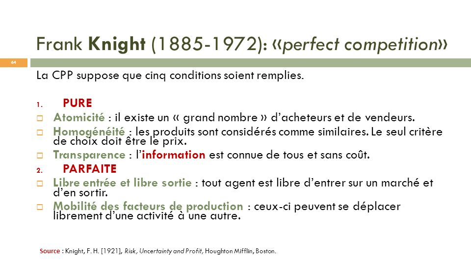 Frank Knight (1885-1972): «perfect competition»